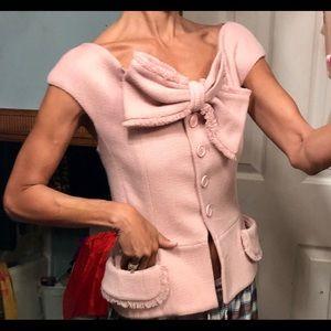 Vtg Christian Dior wool tweed vest jacket top M